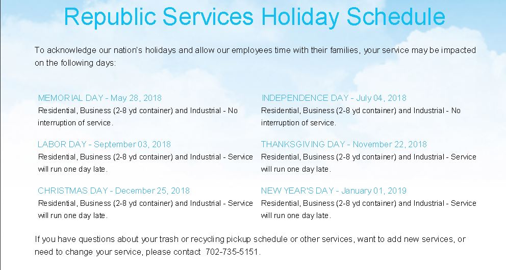 Republic Services Trash Pickup Holiday Schedule – Tapestry Community